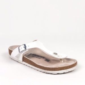 Birkenstock Gizeh White Thong Sandals Sz 38